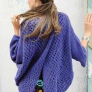 Как связать спицами ажурный пуловер оверсайз с разделённой спинкой