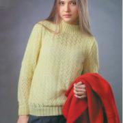 Как связать спицами ажурный пуловер с воротником-стойка
