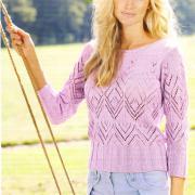 Как связать спицами ажурный сиреневый пуловер
