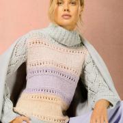 Как связать спицами ажурный свитер гольф пастельных тонов