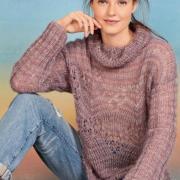 Как связать спицами ажурный свитер в полоску