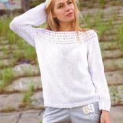 Как связать спицами белый пуловер с рукавом реглан