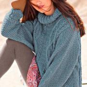 Как связать спицами безразмерный свитер с косами