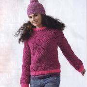 Как связать спицами цветной пуловер с контрастной планкой и шапочка с помпоном
