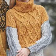Как связать спицами цветной пуловер с рельефным узором
