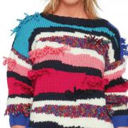 Как связать спицами цветной свитер с бахромой и рукавом реглан