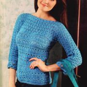 Как связать спицами голубой пуловер в технике брумстик
