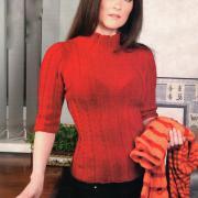 Как связать спицами красный пуловер с косами