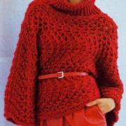 Как связать спицами красный пуловер с широкими рукавами