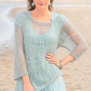 Как связать спицами легкий пуловер цвета мяты с широкими рукавами