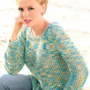 Как связать спицами меланжевый пуловер с ажурным узором