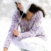 Как связать спицами меланжевый пуловер с v-образным вырезом