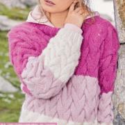 Как связать спицами объемный джемпер с плетеным узором