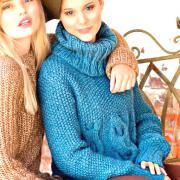 Как связать спицами объемный свитер с крупными косами жемчужным узором
