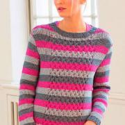 Как связать спицами полосатый джемпер с плетеным узором