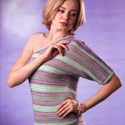 Как связать спицами полосатый пуловер с одним рукавом