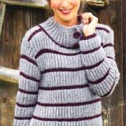 Как связать спицами полосатый пуловер с пуговицами на воротнике
