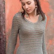 Как связать спицами приталенный полосатый пуловер с v-вырезом