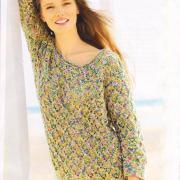 Как связать спицами просто пуловер с ажурными ромбами