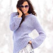 Как связать спицами пуловер с ажурными бордюрами