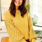 Как связать спицами пуловер с ажурными рукавами фонариками
