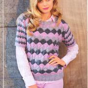 Как связать спицами пуловер с цветным узором и укороченными рукавами