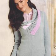 Как связать спицами пуловер с цветным воротником