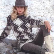 Как связать спицами пуловер с графическим рисунком в черно-белом цвете