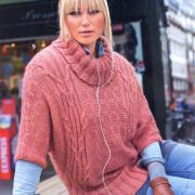 Как связать спицами пуловер - кимоно с рельефами и косами