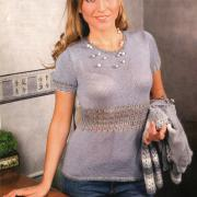 Как связать спицами пуловер с короткими рукавами