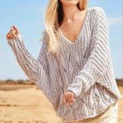 Как связать спицами пуловер оверсайз с рукавом летучая мышь