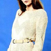 Как связать спицами пуловер с полупатентным узором из ромбов