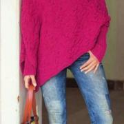 Как связать спицами пуловер-пончо с косами