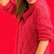 Как связать спицами пуловер с ромбами и капюшоном
