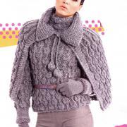 """Как связать спицами пуловер с """"шишечками"""" и накидка"""