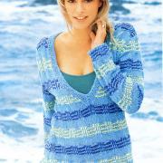 Как связать спицами пуловер с узорами со снятыми петлями
