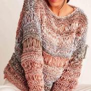 Как связать спицами пуловер с узором из вытянутых петель
