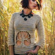 Как связать спицами пуловер с вырезом на животе