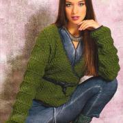 Как связать спицами пуловер с запахом и поясом