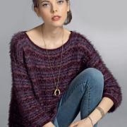 Как связать спицами пушистый пуловер с укороченными рукавами