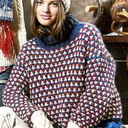 Как связать спицами разноцветный свитер с большим воротником
