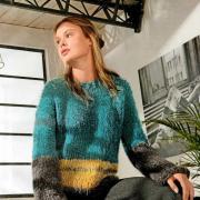 Как связать спицами разноцветный свитер свободного кроя с широкими рукавами
