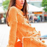 Как связать спицами рельефный свитер с ромбами и «шишечками»