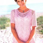Как связать спицами розовый ажурный пуловер
