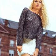 Как связать спицами серебристый ажурный пуловер