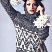 Как связать спицами серый свитер с жаккардовым узором