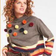 Как связать спицами широкий укороченный пуловер в полоску