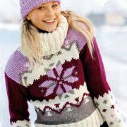 Как связать спицами свитер с большим воротником