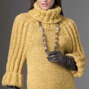 Как связать спицами свитер с большим воротником и объемными рукавами