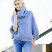Как связать спицами свитер с объемным воротником хомут